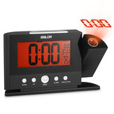 Baldr Digital Alarm Cock 180 Degree Rotation Time Projection Snooze Function Temperature Display Orange Backlight with European or American Adapter Modern Time Watch Electronic Table Clock