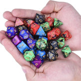 35Pcs Polyhedral Dice Set Multisided Dices Swirl RPG Role Playing Games Gadget W / bag