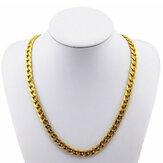 18K chapado en oro de 10 mm cadena de 24 pulgadas collar de joyería de los hombres