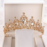 Gold Crystal Tiara Crown Wedding Bridal Headwear Birthday Prom