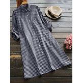 Kadın Vintage Turn-Down Yaka Ekose Bluz
