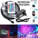 5M SMD2835 Alexa Smart Home WIFI Controller APP Control Non-waterproof RGB LED Strip Light with EU Power Adapter DC12V