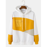 Mens Asymmetrical Patchwork Chest Pocket White Hoodies
