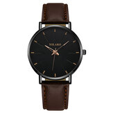 YOLAKO A0552 Fashion Leather Strap Pria Simple Dial Quartz Watch