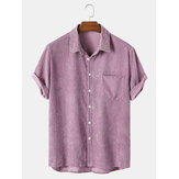Banggood Design Tunn Corduroy Solid Turn Down Collar Chest Pocket Kortärmade T-shirts