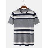 Mens Striped Round Casual Neck Short Sleeve Knitted T-Shirts