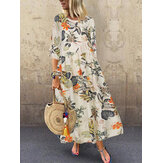 Women Retro Floral Printed Round Neck Three Quarter Sleeve Pleated Maxi Dresses