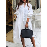 Women Solid Color Pleated Long Sleeve Casual Shirt Midi Dresses
