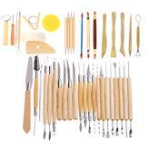 42 قطع خشبية الطين النحت أدوات الفخار نحت أداة مجموعة النمذجة الحرفية هواية