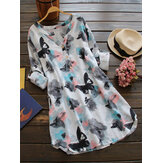 Ink Printed V Neck Buttons Long Sleeve Shirt Dress