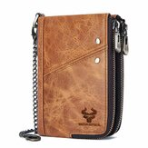 Men Vinatge Genuine Leather RFID Blocking Chain Zipper Coin Bag Wallet