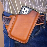 Men's Genuine Leather Convenient Solid Color 6.3inch Phone Case Wallet Belt Bag Waist Bag