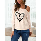 Graphic One Ombro Blusa de manga comprida Casual