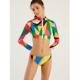 Plus Size Women Geometric Print Zip Front Surfing Swimwear Sunscreen Long Sleeve Bikini