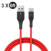 [3 Pack] BlitzWolf® BW-TC15 3A USB Type-C Charging Data Cable 6ft/1.8m For Oneplus 8 Pro Xiaomi Mi10 Redmi Note 9S S20 - Red