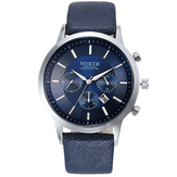 NORTH 6009 Fashion Men Quartz Watch Casual Decorative Little Dails Leather Strap Wristwatch