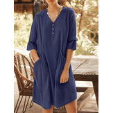 Casual Solid Color Cotton Half Bell Sleeve V-neck Button Dress With Pocket