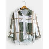 Camisas casuales de manga larga con dobladillo curvado de solapa con estampado de gráficos geométricos para hombre