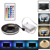 1M 2M 3M Battery Powered 5050 RGB LED Strip Light Waterproof TV Bar Back Lighting Kit + Remote Control