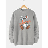 Mens Cartoon Bear Letter Print Crew Neck Knit Pullover Sweaters