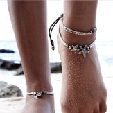 Vintage Antique Silver Anklet Women Starfish Rune Beaded