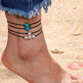 Bohemian Pearl Anklet Set Turquoise Manual Weaving Wax Rope