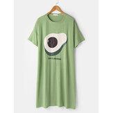 Camisa de manga corta con estampado de aguacate para mujer Cuello Camisones sueltos