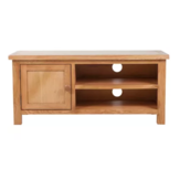 KCASA Solid Oak Wood TV Cabinet With Two Convenient Cable Outlets Brown 40.6