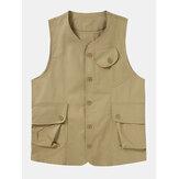Heren effen kleur Multi Pocket Button Up mouwloze buitenvesten