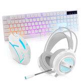 3個のゲーミングキーボードとマウスヘッドセットコンボ104キーRGBバックライト付き防水メカニカルフィーリングキーボード人間工学に基づいたマウスUSB有線LEDPCゲーミングヘッドセット(コ