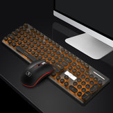 N528 104 Keys Colorful Backlit Mute Rechargeable Wireless Gaming Keyboard and 2.4G Wireless Mouse Combo with Mouse Pads