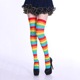Stripe Tube Dresses Over the Knee Socks