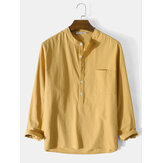 Mens 100% Cotton Basic Solid Color Long Sleeve Henley Shirt