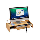 Wooden Desktop Computer Monitor Laptop Stand Elevated Shelf Base Bracket for Office Desktop Keyboard Arrangement