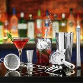 Juego de coctelera de 11 piezas mezclador Martini Spirits Bar Spoon Jigger Colador Soporte herramientas
