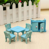 Wooden Dollhouse Furniture Doll House Miniature Dinning Room Set Kids Role Play Toy Kit
