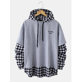 Mens Cotton Check Letter Print Faux Two Pieces Casual Drawstring Hoodies