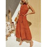 Kadınlar Vintage Puantiyeli Baskı Halter Kolsuz Tatil Maxi Elbiseler