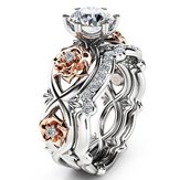 zircon indlagt Rose Gold Flower Heart Platinum Ring Sæt