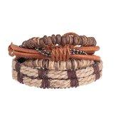 4pcs hommes bracelet en peau de vache extensible rétro rangée tissée bracelet