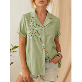 Summer Floral Embroidery Lapel Short Sleeve Casual Shirts