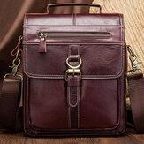 Men Genuine Leather Cowhide Retro Multi-pockets Multi-Layers Crossbody Bag