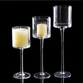 3pcs élégant bougeoirs en verre de lumière de thé table de mariage pièce maîtresse