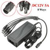 DC12V adaptateur d'alimentation du moniteur 5a pour la radio de la caméra LED pc + câble répartiteur 8 voies