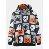 Heren Halloween Cartoon Pumpkin Ghost Pattern Plaid Long Sleeve Kangaroo Pocket Hoodies