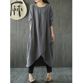 Women Pocket Irregular Linen Cotton Maxi Dress