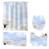 Shower Curtain Winter Landscape Paint Mat Decorative Waterproof Polyester Fabric Bathroom Curtain Set for Home Bath Decor