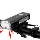 BIKIGHT 2-in-1 400LM 2xT6 Bike Light 3 Modes Adjustable USB Charging Bicycle Front Lamp 6 Modes 120dB Horn with Mount Holder