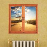 Deserto 3d artificial janela vista de parede 3d decalques quarto do sol pag etiquetas de presente decoração home da parede