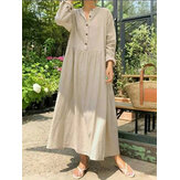 Women Solid Color Half Open Button Long Sleeve Simple Maxi Dresses